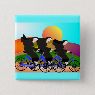 Nuns on Bicycles Art Gifts Button