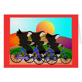 Nuns on Bicycles Art Gifts Greeting Card