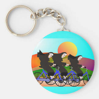 Nuns on Bicycles Art Gifts Keychain