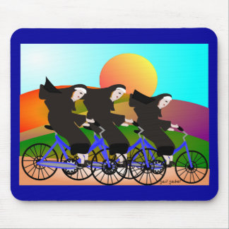 Nuns on Bicycles Art Gifts Mouse Pad
