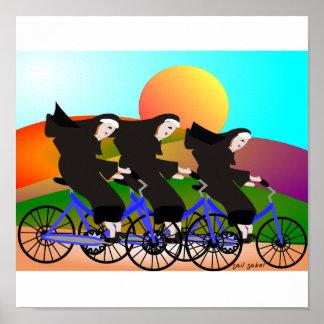 Nuns on Bikes Art Poster