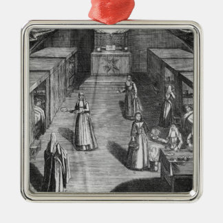 Nuns serving food to the patients at the metal ornament