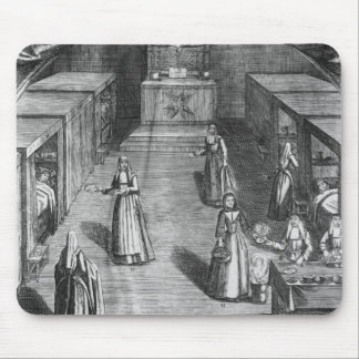 Nuns serving food to the patients at the mouse pad