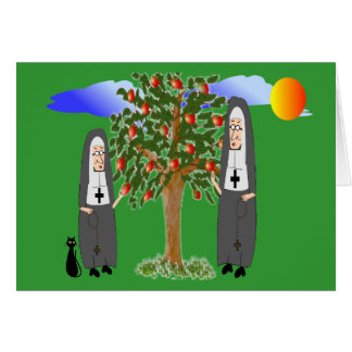 Nuns Stealing Apples Cards & Gifts