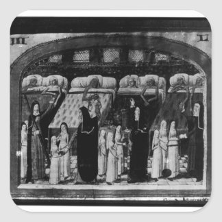 Nuns tending the sick at the Hotel Dieu Square Sticker
