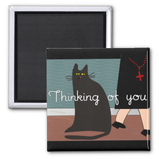 """Nuns """"Thinking of You"""" Cards & Gifts-Cat Design 2 Inch Square Magnet"""