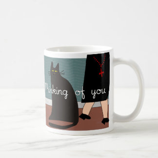 "Nuns ""Thinking of You"" Cards & Gifts-Cat Design Coffee Mug"