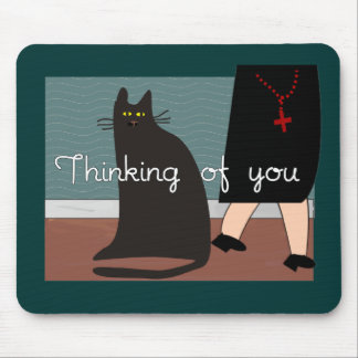 Nuns Thinking of You Cards Gifts-Cat Design Mouse Pads