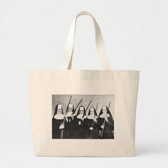 Nuns With Guns Large Tote Bag