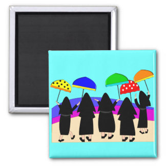 """Nuns With Umbrellas """"Expecting Rain"""" 2 Inch Square Magnet"""