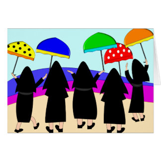 "Nuns With Umbrellas ""Expecting Rain"" Greeting Cards"