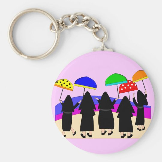 "Nuns With Umbrellas ""Expecting Rain"" Keychain"
