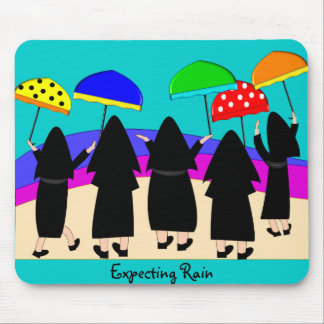 "Nuns With Umbrellas ""Expecting Rain"" Mouse Pad"