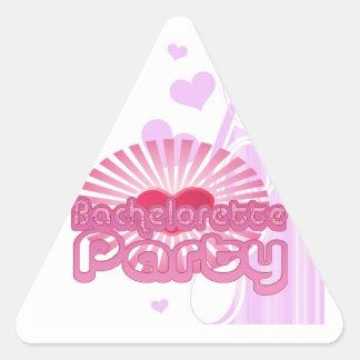 nupcial lindo del corazón del fiesta rosado del pegatina triangular