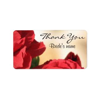 Nupciales florales personalizada le agradecen etiquetas de dirección