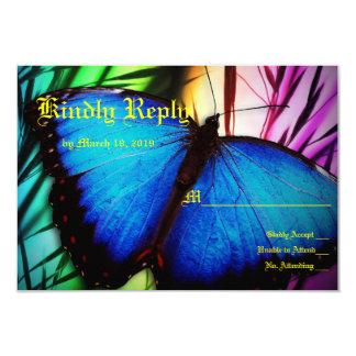 """Nupcias azules del jardín de flores de la mariposa invitación 3.5"""" x 5"""""""