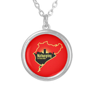 Nurburgring Nordschleife race track, Germany Silver Plated Necklace