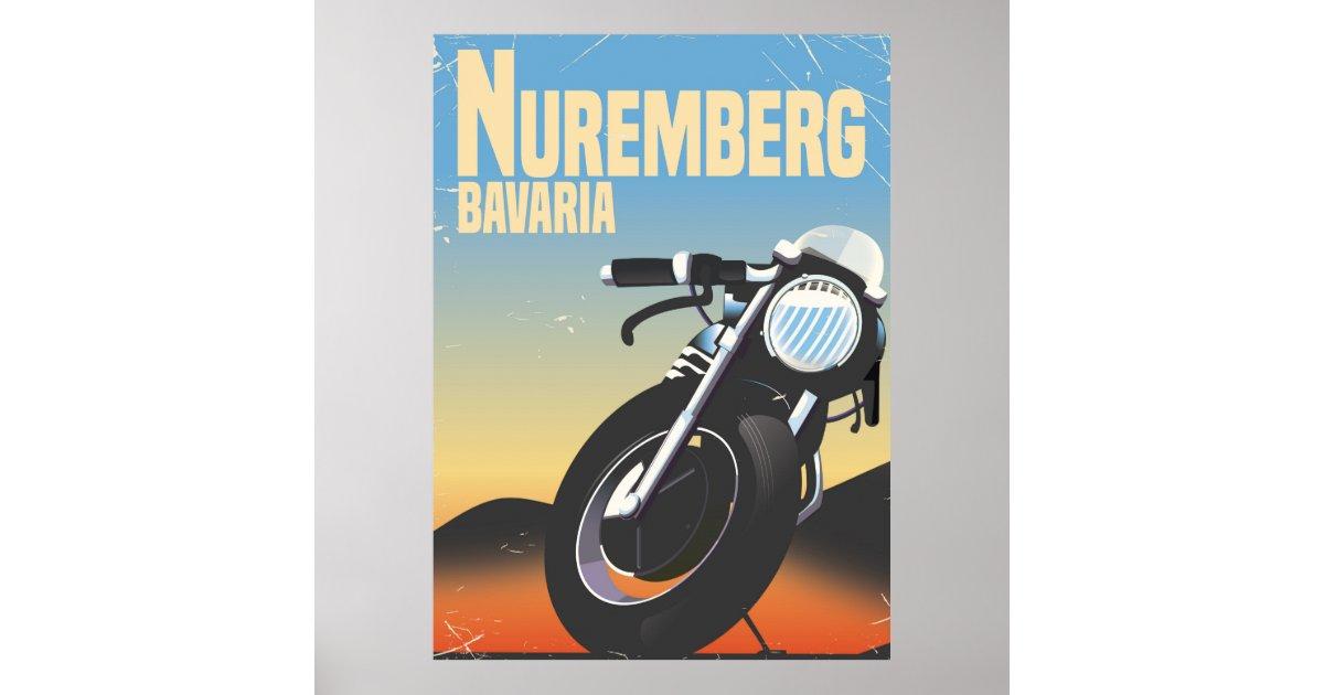nuremberg bavaria motorcycle vintage travel poste poster zazzle. Black Bedroom Furniture Sets. Home Design Ideas