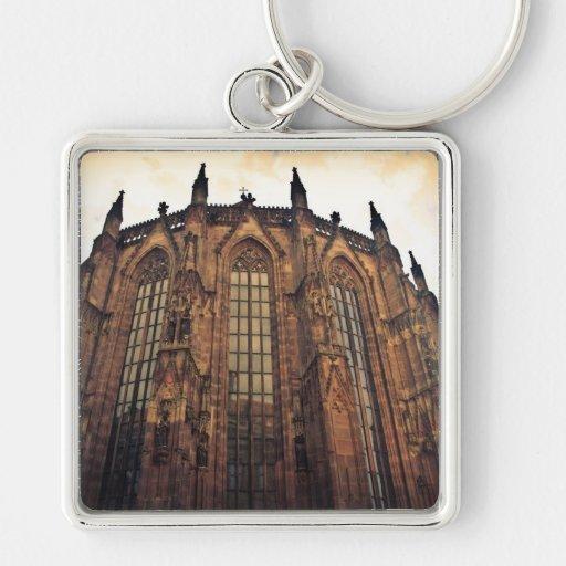 Nuremberg dome Silver-Colored square keychain