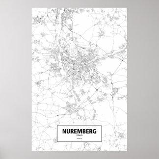 Nuremberg, Germany (black on white) Poster