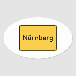 Nuremberg, Germany Road Sign Oval Sticker