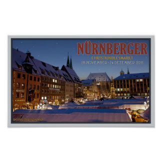Nürnberg Christkindlesmarkt en la noche Posters