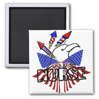 NURSE 4TH OF JULY PATRIOTIC FIRE ROCKETS 2 INCH SQUARE MAGNET
