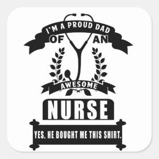nurse and dad square sticker