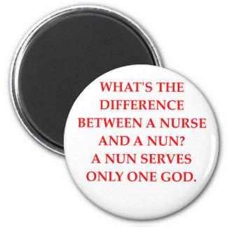 nurse and nun 2 inch round magnet