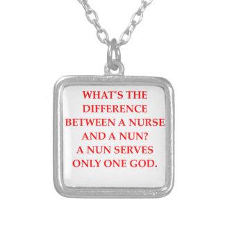 nurse and nun square pendant necklace