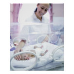 Nurse and premature baby poster
