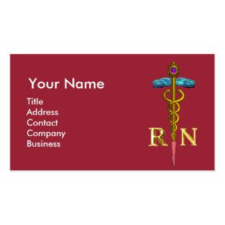 NURSE AND RESCUE DOG /Gold Caduceus NR Emblem,pink Business Card