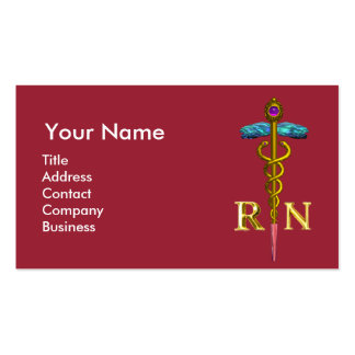 NURSE AND RESCUE DOG /Gold Caduceus NR Emblem,pink Double-Sided Standard Business Cards (Pack Of 100)