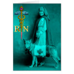 NURSE AND RESCUE DOG /Gold Caduceus RN Emblem Card