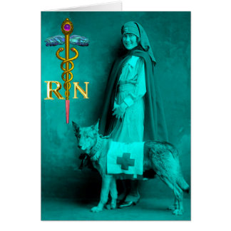 NURSE AND RESCUE DOG /Gold Caduceus RN Emblem Greeting Card