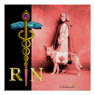 NURSE AND RESCUE DOG /Gold Caduceus RN Emblem Poster