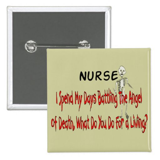 """Nurse """"Angel of Death""""---Funny Gifts 2 Inch Square Button"""