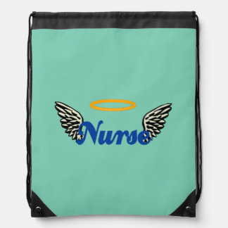 Nurse Angel Wings Drawstring Bag