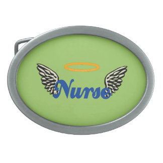 Nurse Angel Wings Oval Belt Buckle