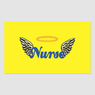 Nurse Angel Wings Rectangular Sticker