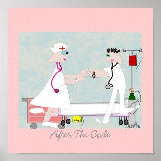 """Nurse Art """"After The Code"""" Canvas Art Poster"""