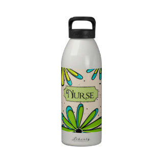 Nurse Artsy Floral Green and Blue Reusable Water Bottles