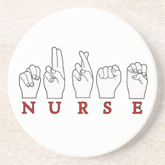 NURSE ASL FINGERSPELLED SIGN LANGUAGE COASTER
