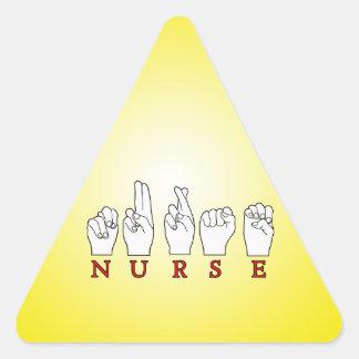 NURSE ASL FINGERSPELLED SIGN LANGUAGE TRIANGLE STICKER