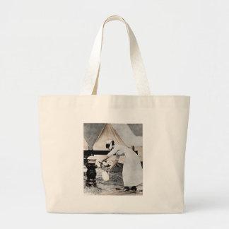 Nurse at Water Pump WWI Large Tote Bag