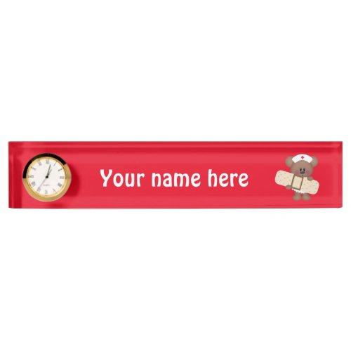 Nurse Bear add words nameplate