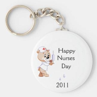 Nurse Bear Basic Round Button Keychain