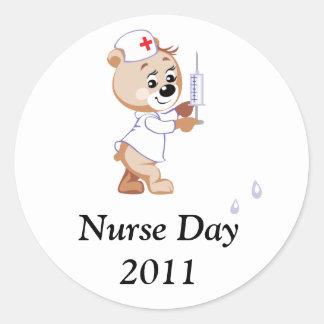 Nurse Bear Classic Round Sticker
