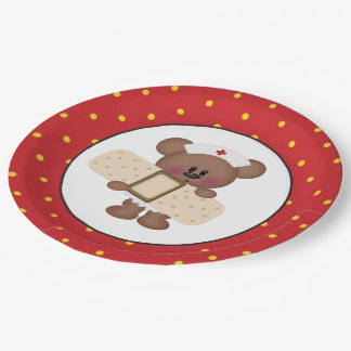 Nurse bear party paper plate 9 inch paper plate