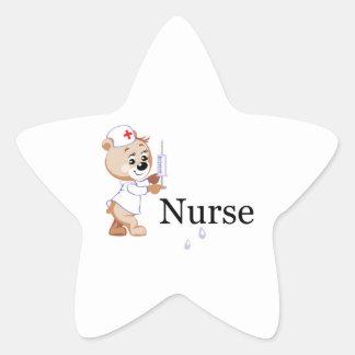 Nurse Bear Star Sticker